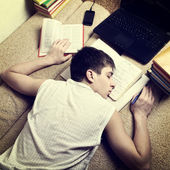 Teenager sleep after learning — Stock Photo