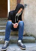 Sad Young Man outdoor — Stock Photo