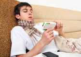 Sick Teenager with the Drug Box — Stock Photo