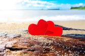 Cuori in riva al mare — Foto Stock