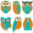 Cute owls and birds — Stock Vector #53969555