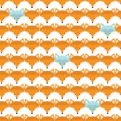 Pattern with cute fox faces — Stock Vector