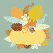 Autumn leaves and acorns — Stock Vector