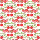Seamless pattern with watercolor berry cherry. — Stock Vector