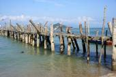 Old Wharf, pier coast of Malaysia, Langkawi. — Stock Photo