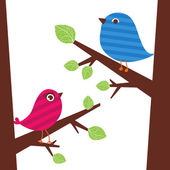 Couple of birds on the branch — Stock Vector