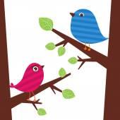 Couple of birds on the branch — Cтоковый вектор