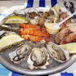 A plate of oysters mussels and shrimps — Stock Photo #64134351
