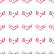 Seamless valentine pattern with flying hearts with wings. — Vecteur #64149553