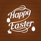 Happy easter lettering  White  letters text  on dark brown — Stock Vector