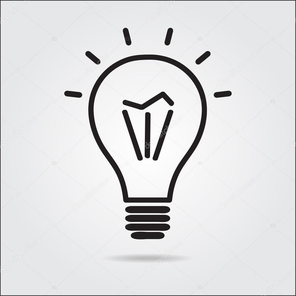 light bulb logo icon drawn in the manual � stock vector