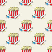Seamless vector pattern with doodle pop corn baskets and stars — Stock Vector