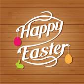 Happy easter lettering. White  letters text  on wood background — Stock Vector