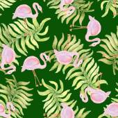 Watercolor seamless  pattern with flamingo bird. — Stock Vector