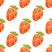 Seamless watercolor pattern with strawberry.  — Stock Vector