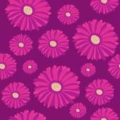 Pattern with purple gerbera flowers — Stock Vector