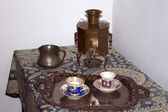 Russian samovar tea set — Stock Photo
