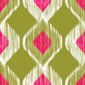 Seamless ikat pattern in pink and khaki colors. Vector tribal background. — Stock Vector
