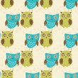 Cute seamless pattern with owls couple. Blue and green owls. Vector illistration — Stock Vector #75012499