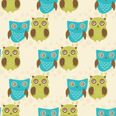 Cute seamless pattern with owls couple. Blue and green owls. Vector illistration — Stock Vector
