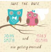 Wedding card with cute owls couple. — Stock Vector