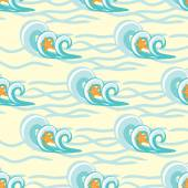 Background waves and starfish, seamless sea pattern — Stock Vector