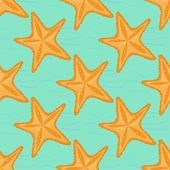 Background with waves and starfish, seamless sea pattern. — Stock Vector
