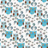 Cute seamless pattern with owls couple. Blue and brown owls. Vector illistration — Stock Vector