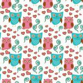 Cute seamless pattern with owls couple. Blue and pink owls. Vector illistration — Stock Vector