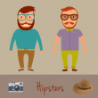 Hipsters character design. Two hipster style young mens. Vector illustration. — Stock Vector #80688074