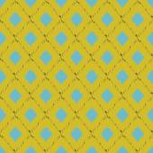Seamless ikat pattern in yellow and blue colors. Vector tribal background. — Stock Vector