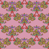 Seamless pattern. Hand drawn seamless pattern from ethnic elements on pink background. — Stock Vector