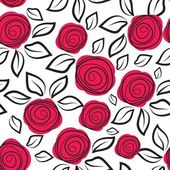 Seamless pattern with abstract rose flowers. — Stock Vector