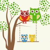 Vector backgrounds with couples of owls on the tree branch. — Stock Vector