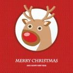 Christmas card with reindeer in Santa hat. — Stock Vector #81142600