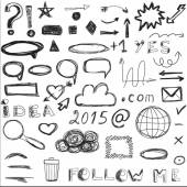 Set of sketched social and digital icons. — Stock Vector
