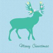 Christmas card with reindeer in Santa hat. — Stock Vector