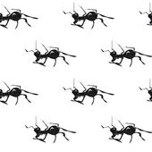 Ants. Hand drawn vector seamless pattern. — Stock Vector