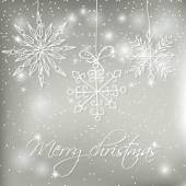 Abstract silver christmas  card with hand drawn snowflakes. — Stock Vector