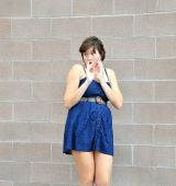 Sexy blue dress. — Stock Photo