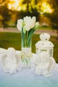 Bouquet of white tulips on the table — Stock Photo
