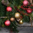 Vintage decorations on Christmas tree — Stock Photo #70388149
