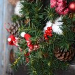 Vintage decorations on Christmas tree — Stock Photo #70388357