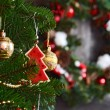 Vintage decorations on Christmas tree — Stock Photo #70388607