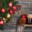 Vintage decorations on Christmas tree — Stock Photo #70388797