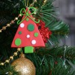 Vintage decorations on Christmas tree — Stock Photo #70388879