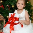 Little girl near Christmas tree with gifts — Stock Photo #70389045