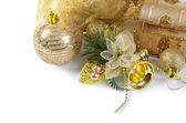 Christmas tree golden decorations — Stock Photo