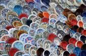 Multicolor sovenir earthenware on tunisian market — Stock Photo
