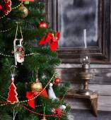 Vintage decorations on Christmas tree — Stock Photo